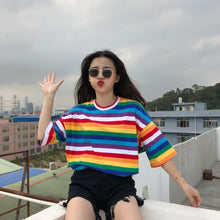 Load image into Gallery viewer, New T Shirt Women Rainbow Striped Tops Harajuku Tshirt 2019 Summer Short Sleeve Korean Punk T-shirt camiseta feminina