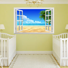 Load image into Gallery viewer, 3D Removable Beach Sea 3D Window Scenery Wall Sticker Home Decor Decals Mural Waterproof Art Wall Paper Poster Free Shipping