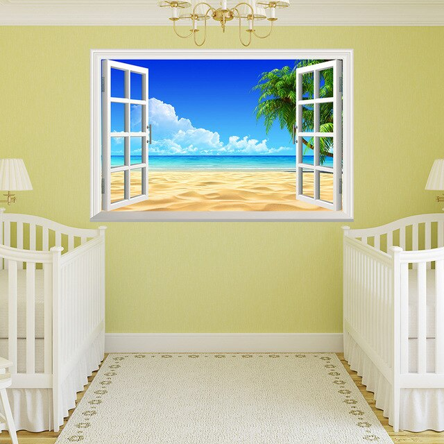 3D Removable Beach Sea 3D Window Scenery Wall Sticker Home Decor Decals Mural Waterproof Art Wall Paper Poster Free Shipping