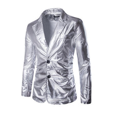 Load image into Gallery viewer, Men Golden jacket Blazer Performance Fitted jacket Silver Costume Nightclub Slim Autumn Winter Male Jacket Classic Party Blazer