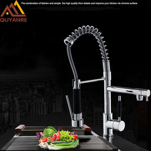 Quyanre Chrome Spring Kitchen Sink Faucet With Pull out Sprayer 360 Rotation Single Handle Mixer Tap Kitchen Spring Faucet