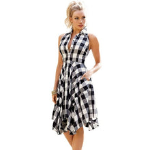 Load image into Gallery viewer, Checks Flared Plaid Shirtdress Explosions Leisure Vintage Dresses 2019 Summer Women Casual Shirt Dress knee-length Dress