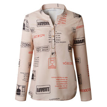 Load image into Gallery viewer, Feitong Women Letters Printing Blouses Fashion Ladies Chic V Neck Button Long Sleeve Shirt Tops Blouse blusas mujer de moda 2019