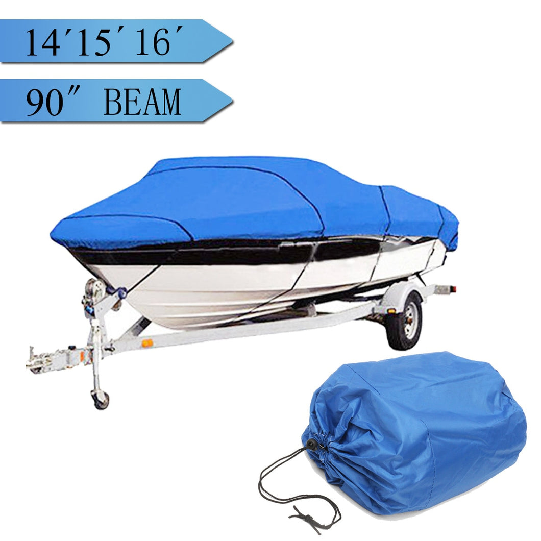 Heavy   14-16ft Beam 90inch Trailerable 210D Marine Grade Boat Cover Waterproof UV Protected Blue