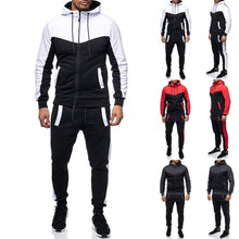 Load image into Gallery viewer, Men's Autumn Winter Packwork Sweatshirt Top Pants Sets Sports Suit Tracksuit tracksuit men track suit