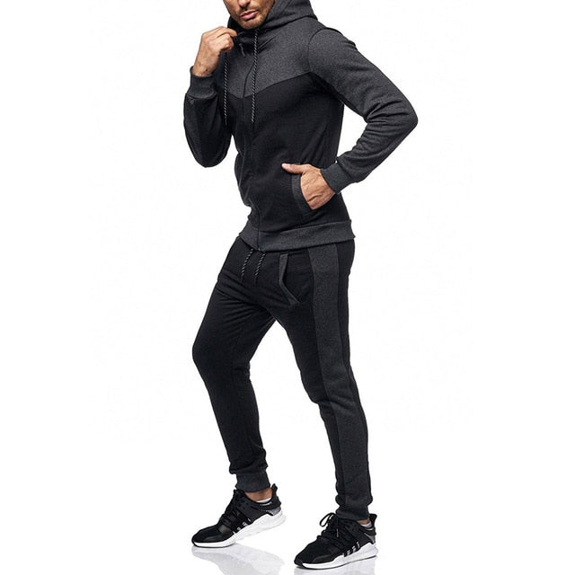 Men's Autumn Winter Packwork Sweatshirt Top Pants Sets Sports Suit Tracksuit tracksuit men track suit