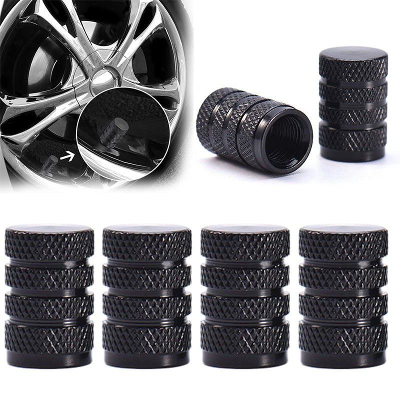 4PCs Black Durable Aluminium Alloy Dust Cover Wheel Tire Tyre Rim Valve Stem Caps Replacement for Car Truck Auto Parts