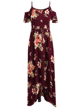 Load image into Gallery viewer, Women's Long dress chiffon Short Sleeve off-Shoulder Boho beach Print Flower summer dress plus size long dress vestido *N