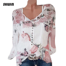 Load image into Gallery viewer, SHUJIN 2018 Spring Autumn Long Sleeve Floral Print Women Blouses Casual V-Neck Button Shirts Female Top Blouse Plus size 5XL