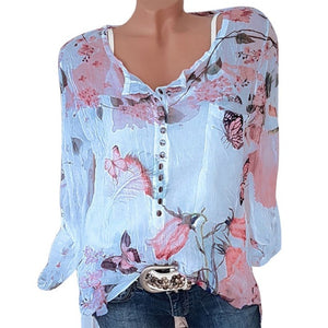 SHUJIN 2018 Spring Autumn Long Sleeve Floral Print Women Blouses Casual V-Neck Button Shirts Female Top Blouse Plus size 5XL
