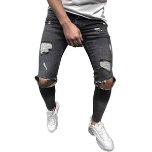 Jeans Mens Skinny Stretch Denim Pants Streetwear Distressed Ripped Freyed Slim Fit Jeans Trousers Clothes Pencil Pants