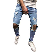 Load image into Gallery viewer, Jeans Mens Skinny Stretch Denim Pants Streetwear Distressed Ripped Freyed Slim Fit Jeans Trousers Clothes Pencil Pants