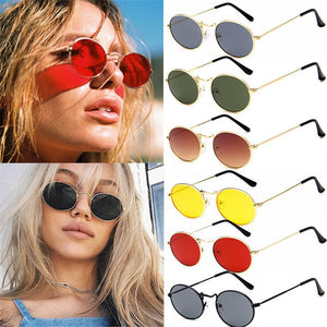 New Fashion Vintage Retro Oval Sunglasses Ellipse Metal Frame Glasses Trendy Fashion Shades Glasses Women/Men Anti-UV