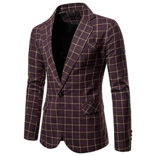 Load image into Gallery viewer, MUQGEW 2019 Spring New Arrival Blazer Men Slim Button Suit Plaid Turn-down Collor Tops Men Blazer Hombre
