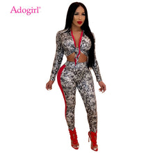 Load image into Gallery viewer, Adogirl Snakeskin Print Women Sexy Two Piece Set Front Tie Turn Down Collar Long Sleeve Crop Top + Pencil Pants Fashion Outfits