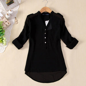 Free Ostrich Chiffon Blouse 2019 Women Clothing Long Sleeve Autumn Brand Shirt Casual Loose Oversized Top Chemise Femme C0940