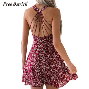 Free Ostrich vestidos Women Summer Dress Bandages Dress Ladies 2019 Summer Floral Print Party Dress Beach Sundress N30