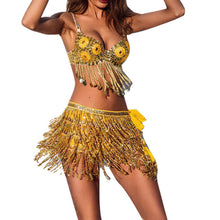 Load image into Gallery viewer, Tassel fringe sequin women Summer style beach short Sequin Belly Dancer Costume Tassel Wrap Skirt Club Mini Skirt *35