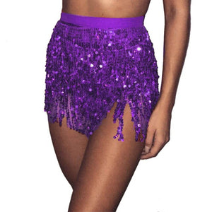 Tassel fringe sequin women Summer style beach short Sequin Belly Dancer Costume Tassel Wrap Skirt Club Mini Skirt *35