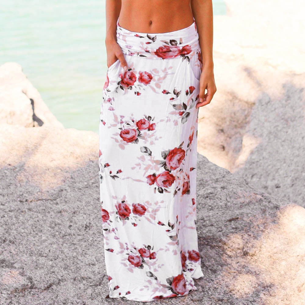Womail Women Skirt Summer Fashion  Ladies Beach Floral Prints Skirt Low Waist Long Skirt Daily Casual 2019 dropship f10