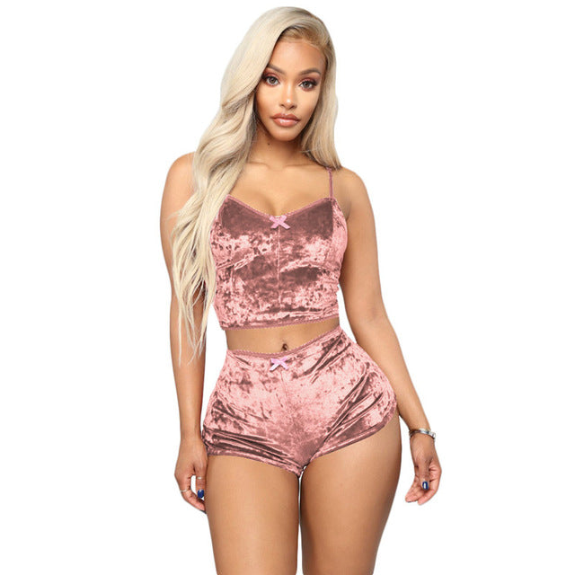 Echoine Sexy Bodycon Two Piece Set Women Velvet Spaghetti Straps Bow Lace Elastic Sleeveless V-Neck Crop Tops Short Pants Suit