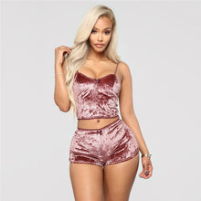 Load image into Gallery viewer, Echoine Sexy Bodycon Two Piece Set Women Velvet Spaghetti Straps Bow Lace Elastic Sleeveless V-Neck Crop Tops Short Pants Suit