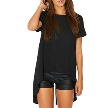 Load image into Gallery viewer, 2019 Casual Women Solid Black Short Sleeve shirts Summer style Split High Low Long Back Round Neck Blouse Loose Shirt Blusas
