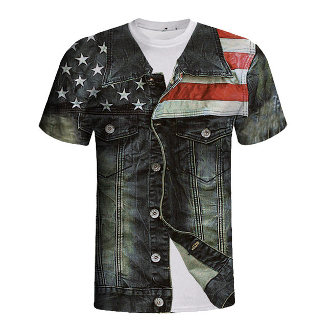 American flag print 2019 Unisex Holiday Shirt Rude Stag Party Fancy Dress 3D Offensive Boobs Printed blusas mujer de moda Tee