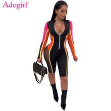 Load image into Gallery viewer, Adogirl S-3XL Color Patchwork Sheer Mesh Bandage Jumpsuit Women Sexy Zipper V Neck Long Sleeve Shorts Romper Night Club Playsuit
