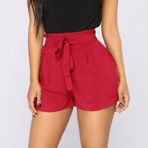 Womail Women shorts Retro Casual Fit Elastic Waist Pocket Shorts High Waist String short Solid Loose dropship j21