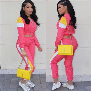 Adogirl Color Patchwork Women Casual Two Piece Set Tracksuit Zipper Crop Jacket Top + Sweat Pants Female Streetwear Sportswear