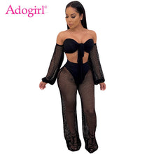Load image into Gallery viewer, Adogirl Hollow Out Crochet Summer Beach Two Piece Set Women Sexy Front Tie Strapless Lantern Sleeve Crop Top + Wide Leg Pants