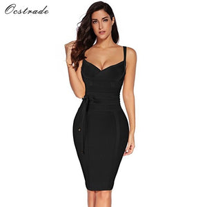 Ocstrade Women Bandage Dress 2019 Rayon Sleeveless Summer New Arrivals Sexy Deep v Neck Vestido Bodycon Bandage Dress Club Party
