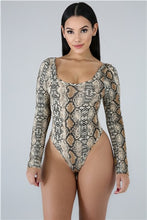 Load image into Gallery viewer, Women Sexy Serpentine Printed Skinny Bodysuits Long Sleeve Casual Romper Tops Summer Active Beach Holiday Swimwear Swimming Suit