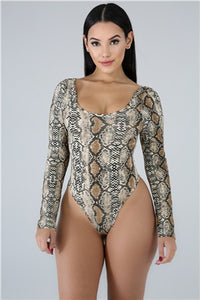 Women Sexy Serpentine Printed Skinny Bodysuits Long Sleeve Casual Romper Tops Summer Active Beach Holiday Swimwear Swimming Suit