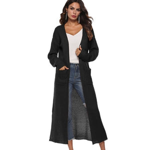 New European Women Long Cardigan Plus Size Thick Kimono Long Sleeve Sweater Loose Asymmetrical Hem Women Outerwear Black Gray