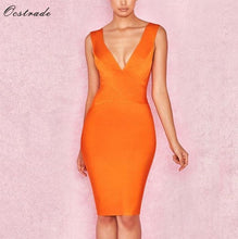 Load image into Gallery viewer, Ocstrade Sexy Dress Club Wear Summer Party Dress 2019 New Arrival Orange Deep v Neck Women Bandage Dress Bodycon Sleeveless XL