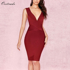 Ocstrade Sexy Dress Club Wear Summer Party Dress 2019 New Arrival Orange Deep v Neck Women Bandage Dress Bodycon Sleeveless XL