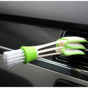 1pcs Long Durable 2 In 1 Double Slider Car Air-conditioner Outlet Cleaning Tool Outlet Window Cleaning Multi-purpose Brush