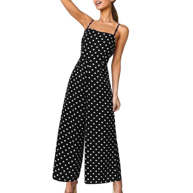Womail bodysuit Women Summer Fashion Polka Dot Holiday Wide Leg Pants Long Jumpsuit Backless Strappy Playsuit NEW dropship M7