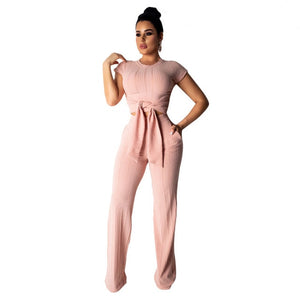 Echoine Women Sport Two Piece Set O-Neck Sashes Lace Up Knitted Ribbed Tops Short Sleeve Casual Suits Elastic Loose Long Pants