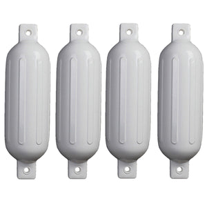 "4PCS Ribbed Boat Fender Vinyl Inflatable Bumper Marine Dock Shield Protection White 5.5"" X 20"""
