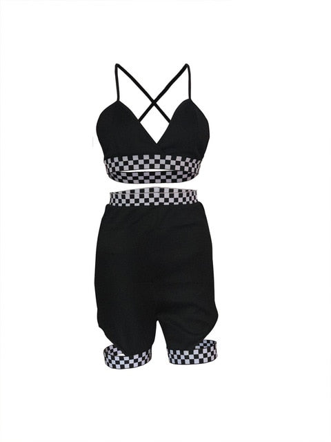 Echoine Sexy Two Piece Set Women Print Cross Bandage Backless Elastic V-Neck Crop Tops Riding Short Suit Beach Swimming Outfits