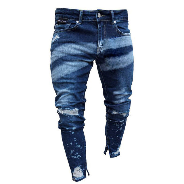 feitong 2019 Men Stylish Ripped Jeans Pants Biker Skinny Slim Straight Frayed Denim Trousers New Fashion skinny jeans menClothes