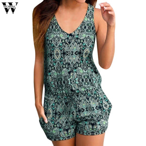 Womail bodysuit Women Summer Fashion Casual Print Clubwear Sleeveless Playsuit Print Bodysuit Party Jumpsuit new2019 dropship M2