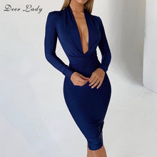 Load image into Gallery viewer, DeerLady Bandage Dresses 2019 New Arrivals Xmas Women White Bandage Dress Long Sleeve Winter V Neck Bandage Bodycon Dress Party