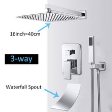 Load image into Gallery viewer, Quyanre Wall Mount Bathroom Rain Waterfall Shower Faucets Set Concealed Chrome Shower System Bathtub Shower Mixer Faucet Tap