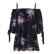 Load image into Gallery viewer, XL-5XL Plus Size Fashion Women Strap Chiffon Cold Shoulder Lady Loose Shirt Tops Casual Short Sleeve Blouse Summer Female Blusa