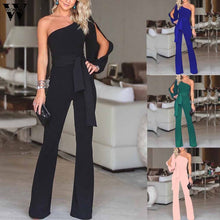 Load image into Gallery viewer, Womail bodysuit Women Summer Casual Solid Long Sleeve Cold Shoulder Jumpsuit Clubwear Wide Leg Jumpsuit fashion 2019 dropship M1