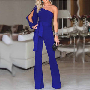 Womail bodysuit Women Summer Casual Solid Long Sleeve Cold Shoulder Jumpsuit Clubwear Wide Leg Jumpsuit fashion 2019 dropship M1